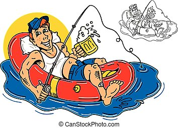 guy fishing and drinking beer on an inflatable raft