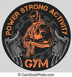 Bodybuilding and powerlifting - vinyl-ready vector template