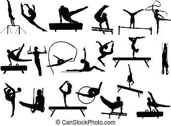 gymnastics silhouettes - vector