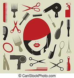 Tooling a hairstyle for design. A vector illustration