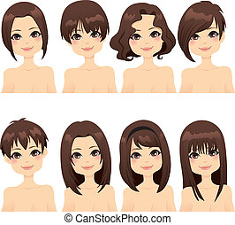 Beautiful girl with collection of different hairstyle fashion