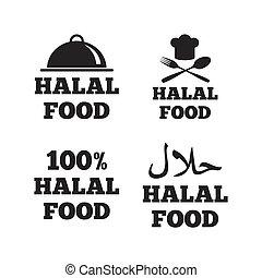 Halal food icons. Natural meal symbol.