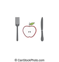 Half Apple with fork andknife line icon