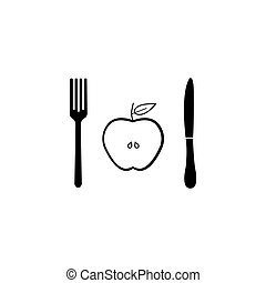 Half Apple with fork andknife solid icon