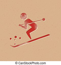 Halftone Icon - Skiing