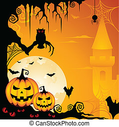 A spooky illustration with scary elements for Halloween celebration design.