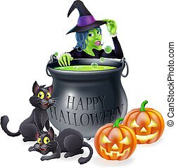 Halloween cartoon witch scene with a witch, her black cats, Happy Halloween cauldron and pumpkins.