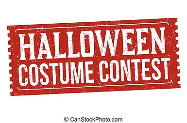 Halloween costume contest grunge rubber stamp on white background, vector illustration
