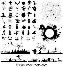 illustration of set of halloween element for designing
