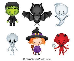 Vector illustration - Halloween characters icon set