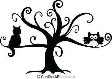 Scalable vectorial image representing a halloween night owl and cat in tree, isolated on white.