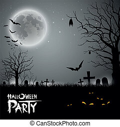 Halloween party scary background, vector illustration