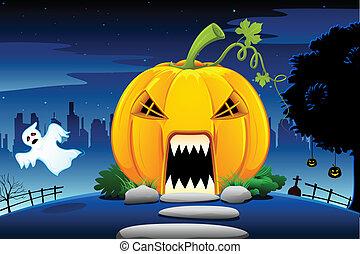 illustration of pumpkin house in scary halloween night
