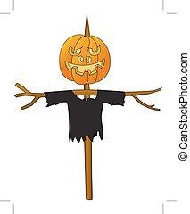 Halloween. Pumpkin on a pole. Scarecrow kitchen garden. Cartoon image. White background. Vector.
