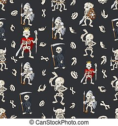 Halloween seamless pattern, background with cartoon hand drawn skeletons