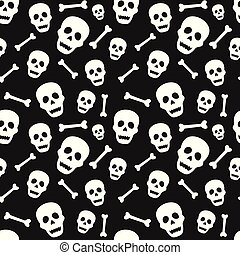 Halloween seamless pattern with skull and bone. Design for background, wallpaper or gift wrapping paper.