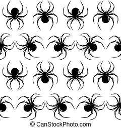 Halloween seamless with black spiders on the white background