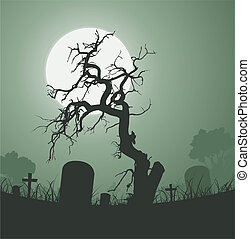 Illustration of a halloween frightening weird dead tree inside graveyard with tombstones and a full moon in the background