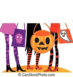 Girls night out dressed in Halloween costumes with fun goody bags. Ready for Trick or Treating or going to clubs or parties.