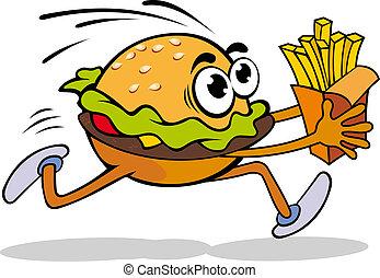 Fast food cartoon hamburger with potato. Vector illustration