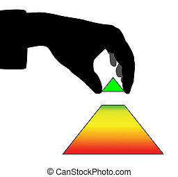 Hand and pyramid