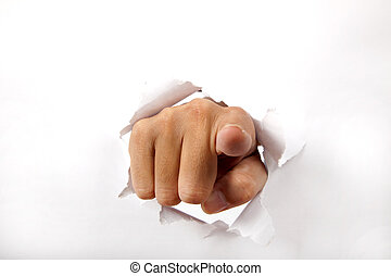 hand break through the white paper with finger pointing to the you