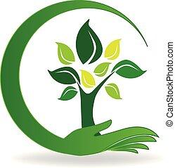 Hand care a tree symbol logo