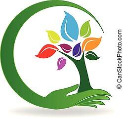 Hand care a tree symbol logo vector