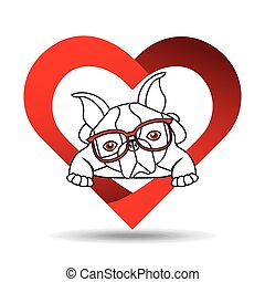 hand draw cute dog pet with glasses heart background