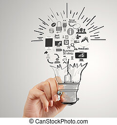 hand drawing creative business strategy with light bulb as concept