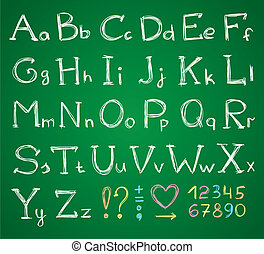 hand drawn alphabet on a green chalkboard
