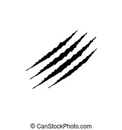Hand drawn Animal's claws scratch scrape track, Cat tiger scratches paw shape doodle vector