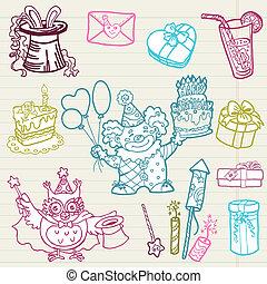 Hand drawn Birthday Celebration Design Elements - for Scrapbook, Invitation in vector