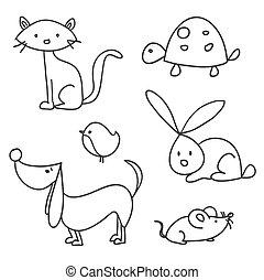Hand drawn cartoon pets, illustration
