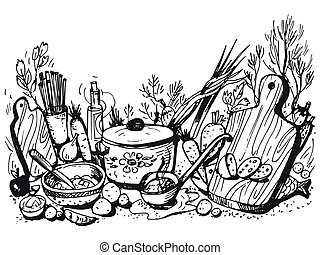 hand drawn, cartoon, sketch illustration of cookery