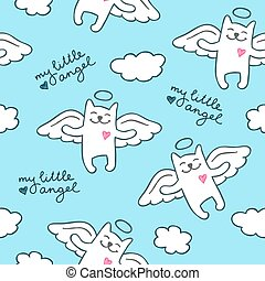 hand drawn cats angels