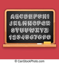 Hand Drawn Chalked 3D Letters and Numbers on Blackboard