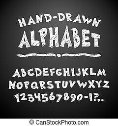 Hand Drawn Chalked Alphabet on Blackboard