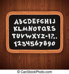 Hand Drawn Chalked Letters and Numbers on Blackboard