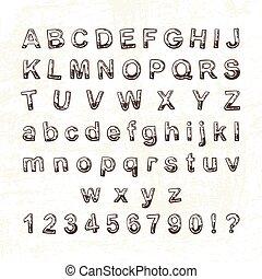 Hand drawn doodle font. Cartoon vector alphabet