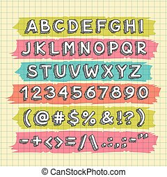 Hand Drawn Font on the Squared Paper Sheet