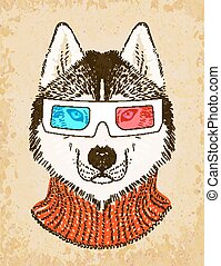Hand Drawn Husky Dog with 3d Glasses. Vector illustration, eps10.