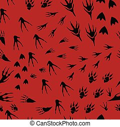 Hand drawn imprint of paws of monsters, seamless pattern traces