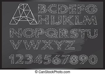 Hand drawn letter on blackboard