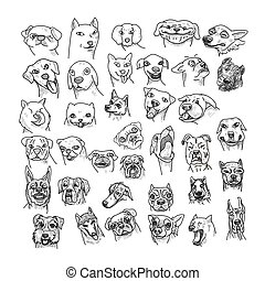 Hand drawn of dogs head set isolated on white background.