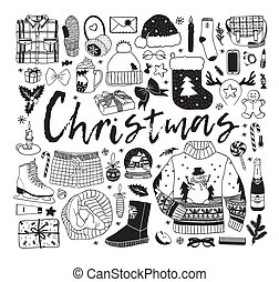 Hand drawn pattern with Christmas objects. Vector Celebration Illustration. Creative artwork. Cozy Winter set of decoration. Doodle Holidays background.