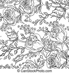 Hand-drawn roses black and white seamless pattern.