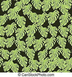 Hand drawn seamless doodle pattern with green light leaves little random ornament. Dark background.
