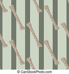 Hand drawn seamless horror pattern with beige dashes bones ornament. Grey striped background.