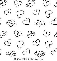 Hand drawn seamless pattern of hearts